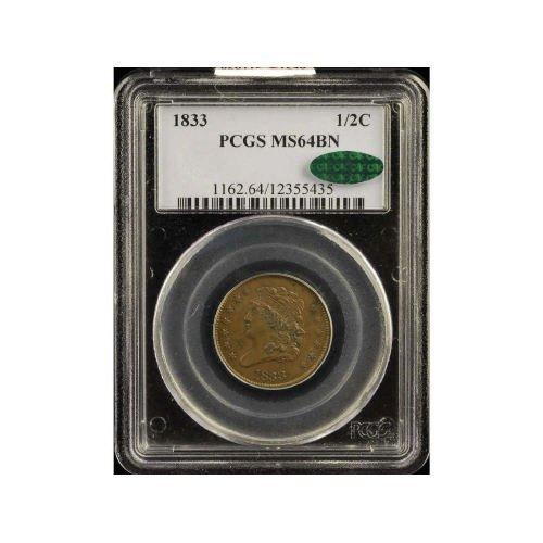 5: 1/2C 1833 PCGS MS64 BN CAC Half Cent