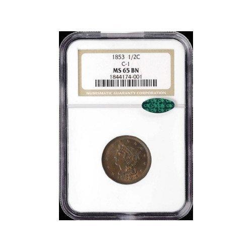 6: 1/2C 1853 NGC MS65 BN CAC Half Cent