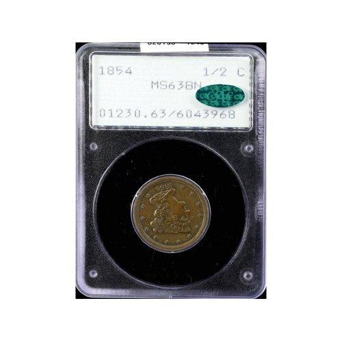 7: 1/2C 1854 PCGS MS63 BN CAC Half Cent