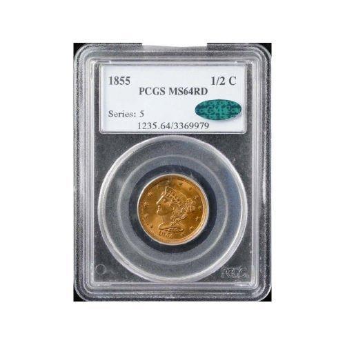 8: 1/2C 1855 PCGS MS64 RD CAC Half Cent
