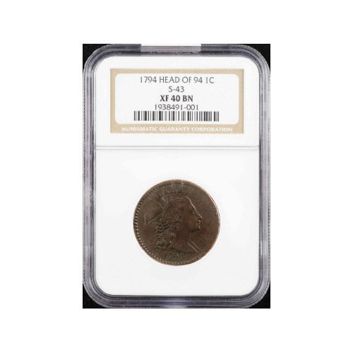 9: 1C 1794 HEAD 94 NGC XF40 BN S-43 Early Large Cent