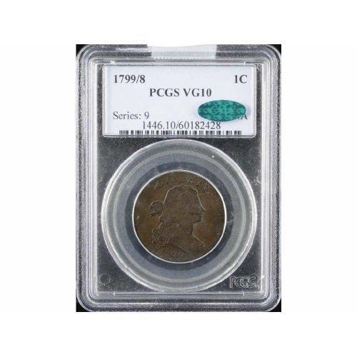 10: 1C 1799/8 PCGS VG10 CAC classic Large Cent