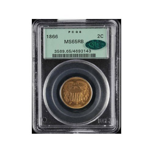 21: 2C 1866 PCGS MS65 RB CAC Two Cent Piece