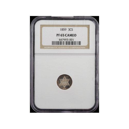 23: 3CS 1859 NGC PR65 CAMEO Three Cent Silver