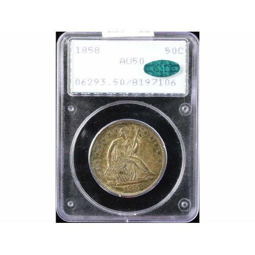 116: 50C 1858 PCGS AU50 CAC COIN