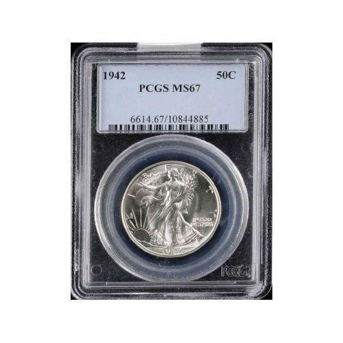 134: 50C 1942 PCGS MS67 COIN