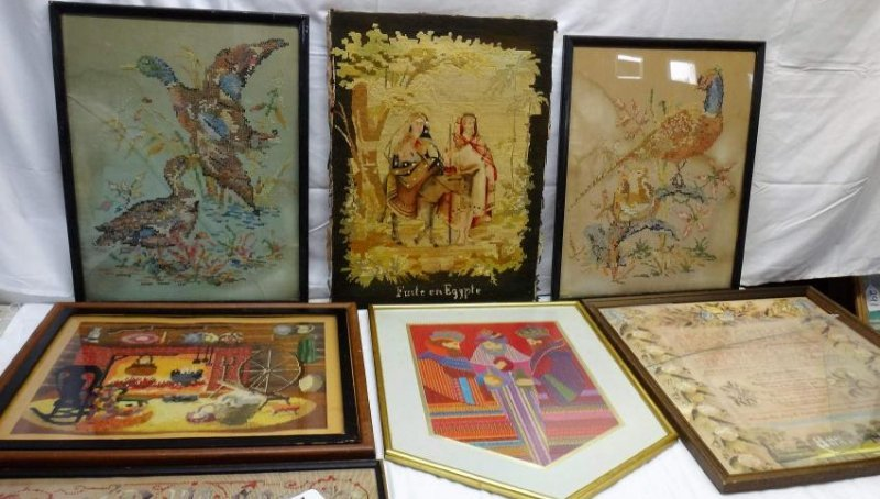 NEEDLEPOINT WORKS  /RE-PRODUCTION PRINT/ CROSS-STITCHED