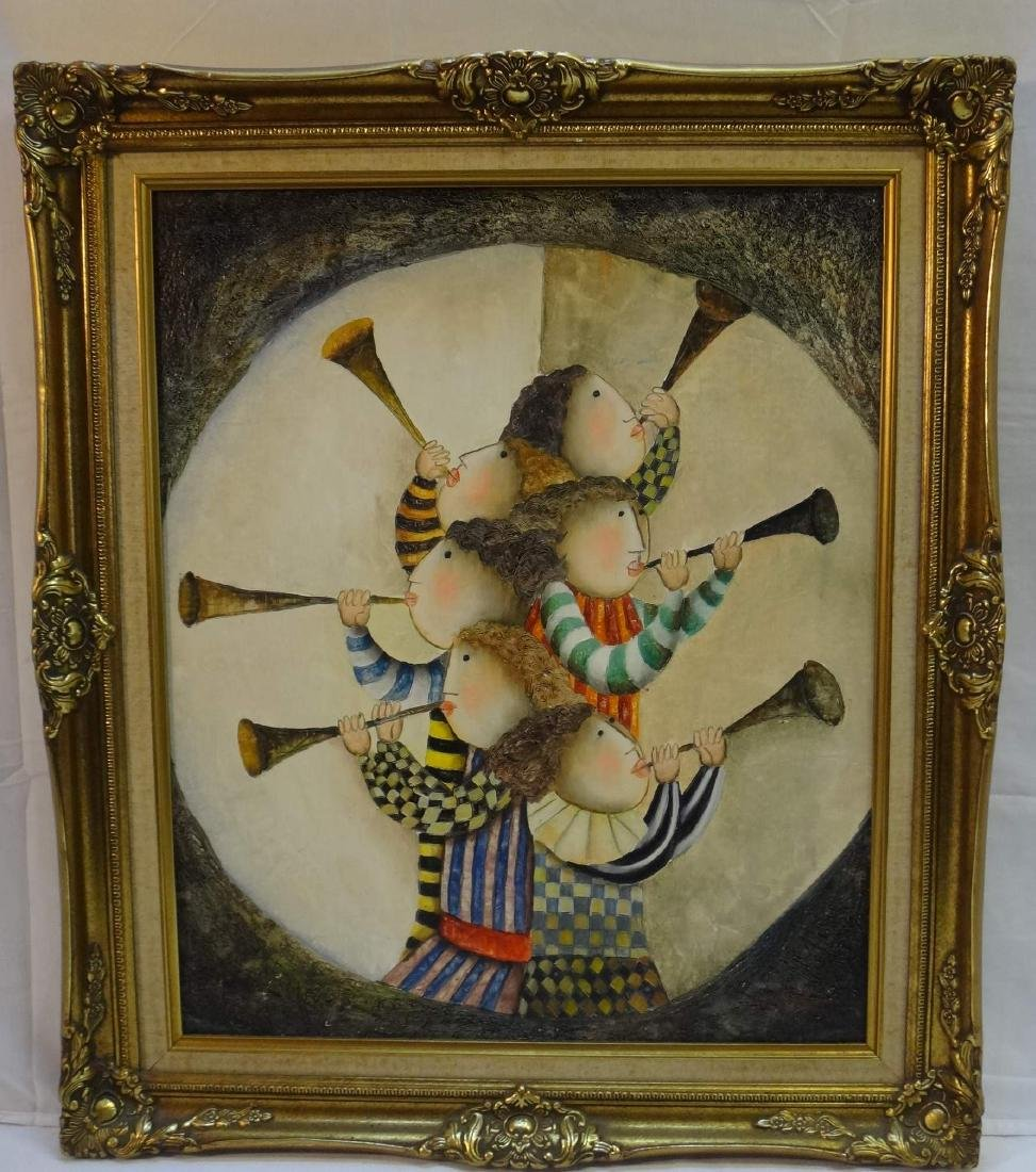 JOYCE ROYBAL, CHILDREN  PLAYING HORNS, O/C, Signed.