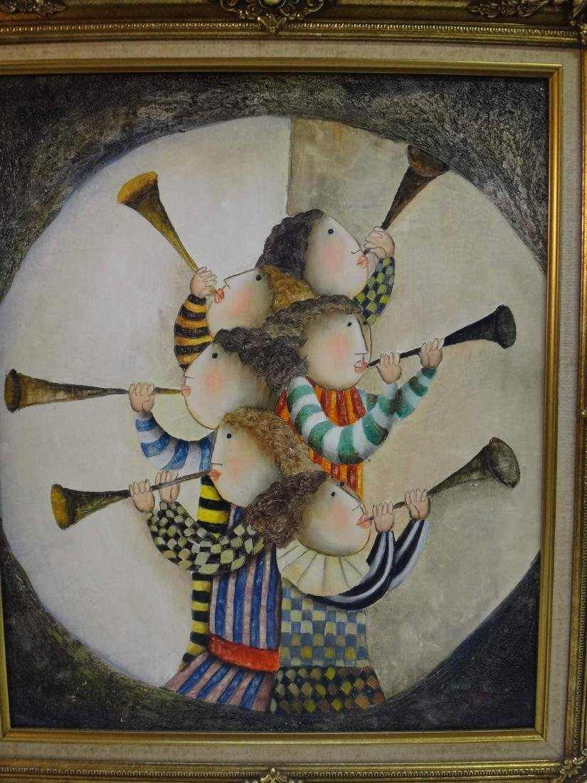 JOYCE ROYBAL, CHILDREN  PLAYING HORNS, O/C, Signed. - 3