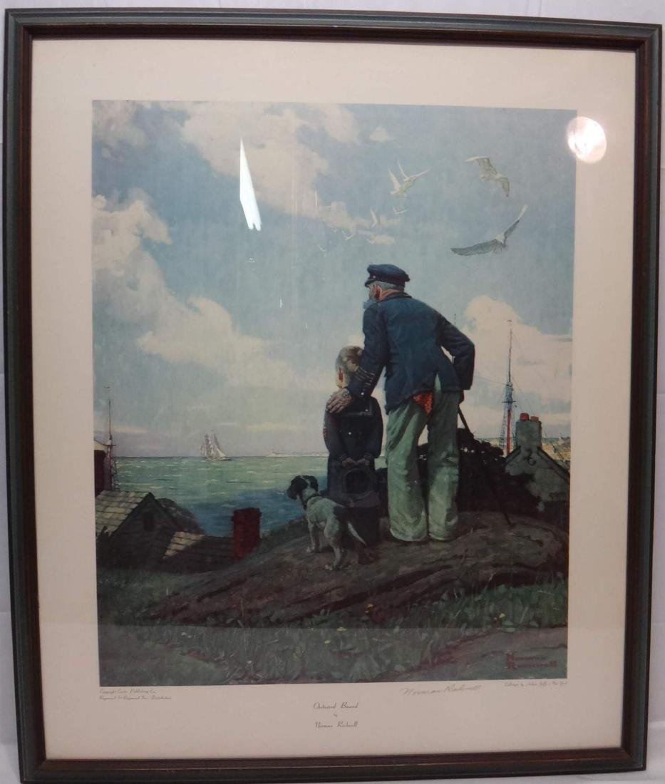 "NORMAN ROCKWELL , ""OUTWARD BOUND"" , SIGNED PRINT"