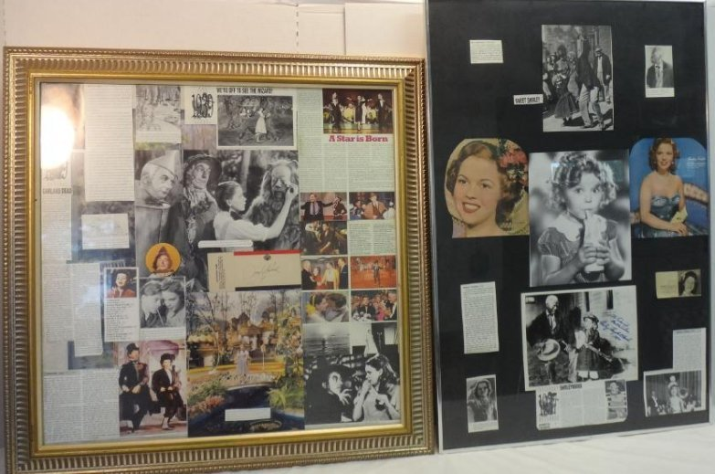 FRAMED COLLAGES OF SHIRLEY TEMPLE & JUDY GARLAND.