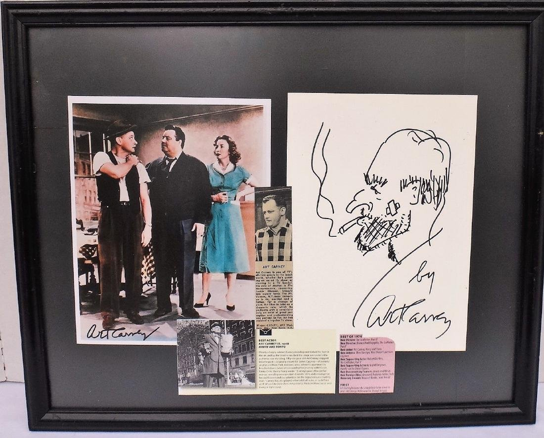 ART CARNEY FRAMED COLLAGE & DRAWING