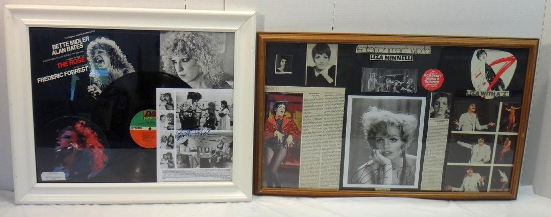 LISA MINNELLI AND BETTE MIDLER SIGNED PHOTO COLLAGES