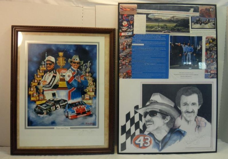 RICHARD PETTY W/ EARNHART POSTERS SIGNED.