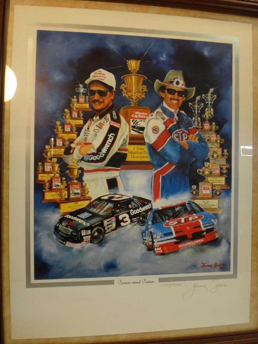 RICHARD PETTY W/ EARNHART POSTERS SIGNED. - 2