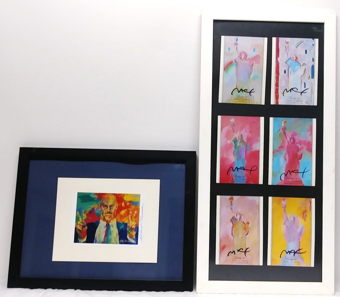 """PETER MAX'S TRIPLE SIGNED """"LADY LIBERTY"""""""