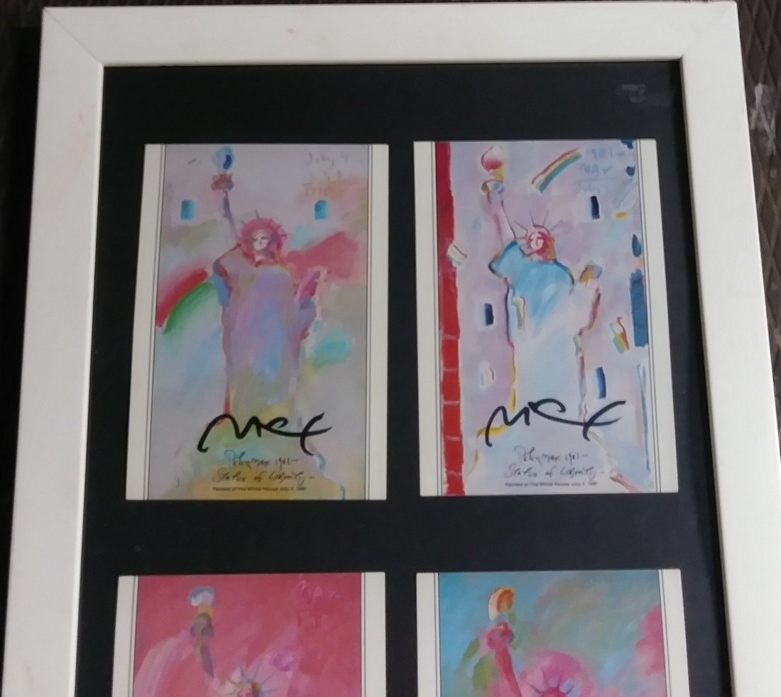 """PETER MAX'S TRIPLE SIGNED """"LADY LIBERTY"""" - 2"""