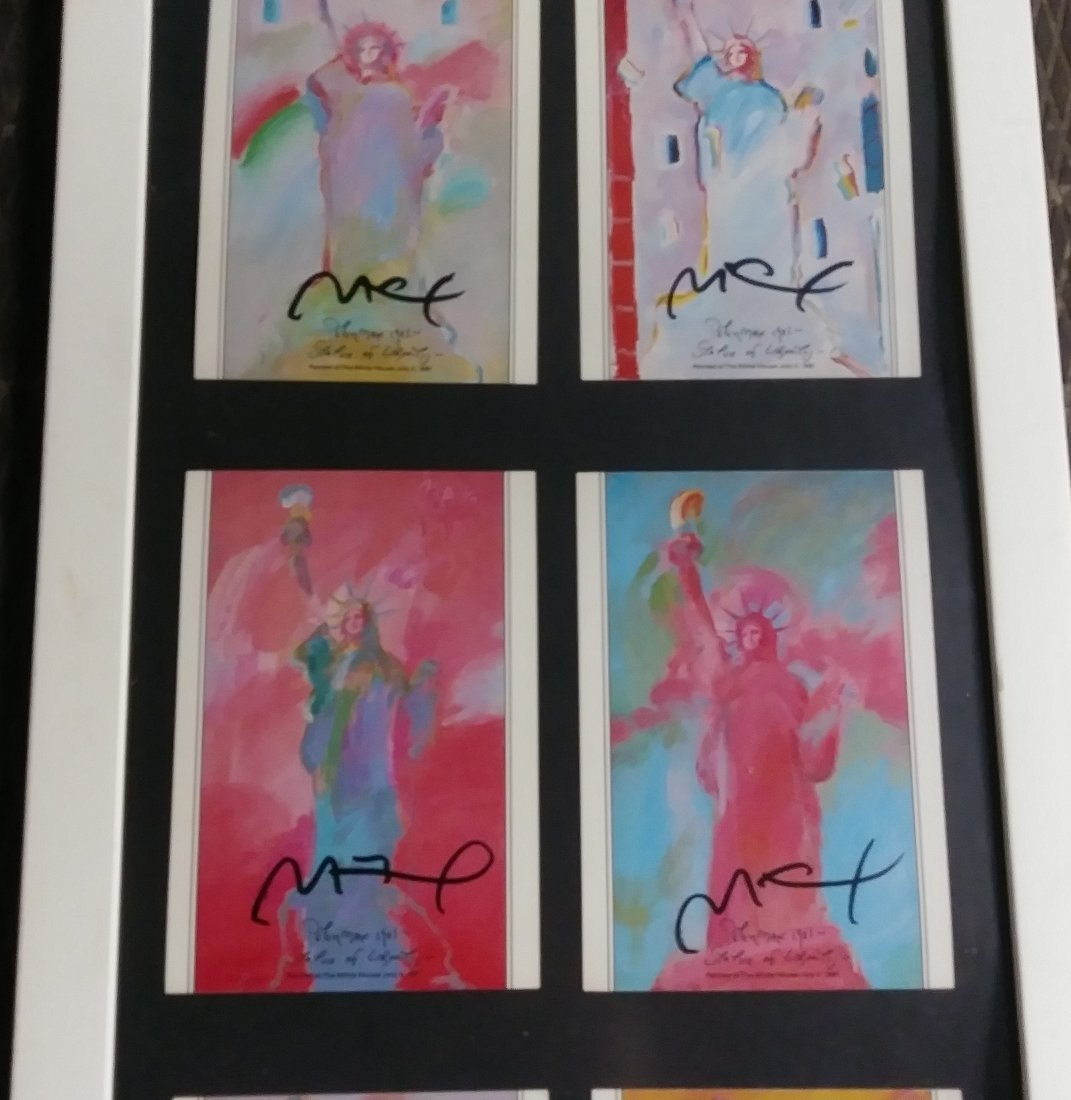 """PETER MAX'S TRIPLE SIGNED """"LADY LIBERTY"""" - 4"""