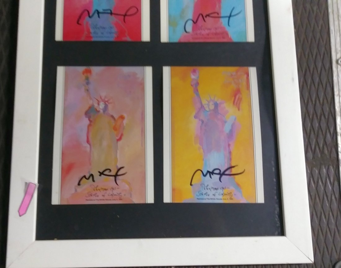 """PETER MAX'S TRIPLE SIGNED """"LADY LIBERTY"""" - 5"""