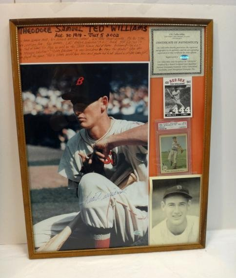TED WILLIAMS SIGNED VINTAGE PHOTO & UNSIGNED PLAQUE.