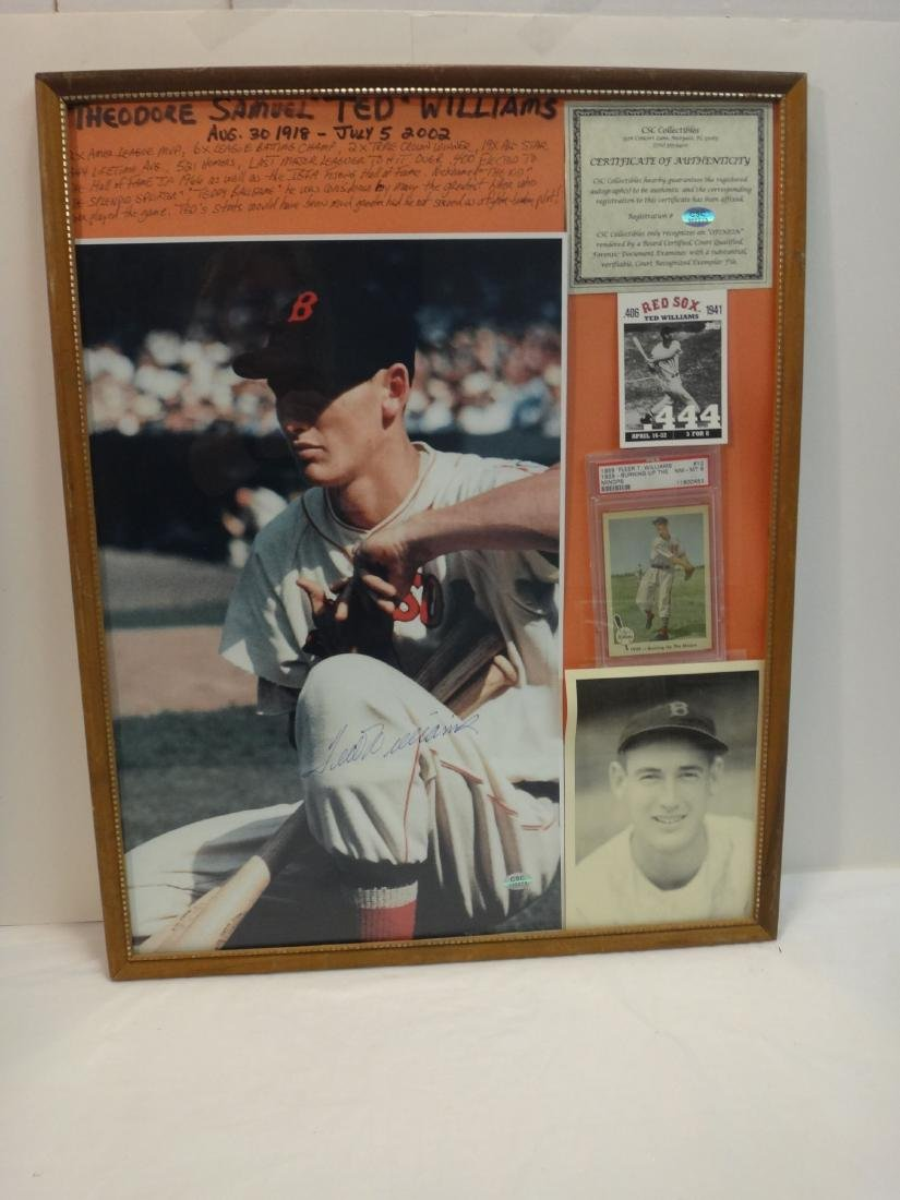 TED WILLIAMS SIGNED VINTAGE PHOTO & UNSIGNED PLAQUE. - 2