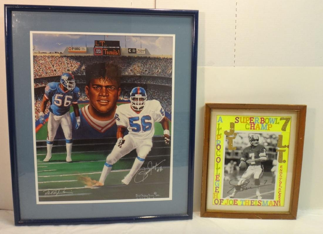 LAWRENCE TAYLOR/JOE THEISMAN SIGNED LITHO & PHOTO