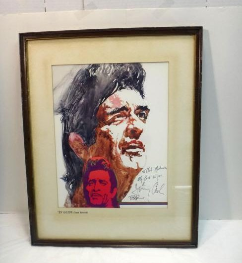 JOHNNY CASH LITHO SIGNED BY HIM AND ARTIST