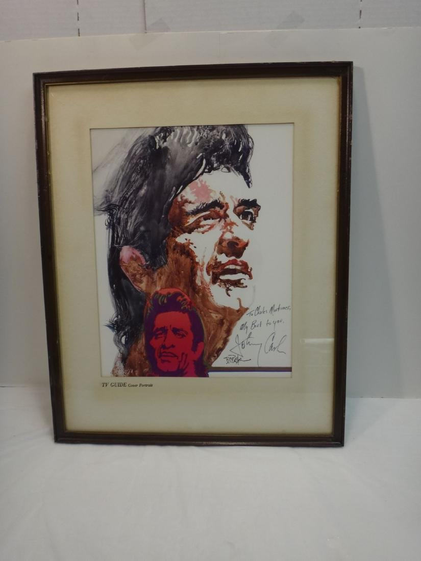 JOHNNY CASH LITHO SIGNED BY HIM AND ARTIST - 2