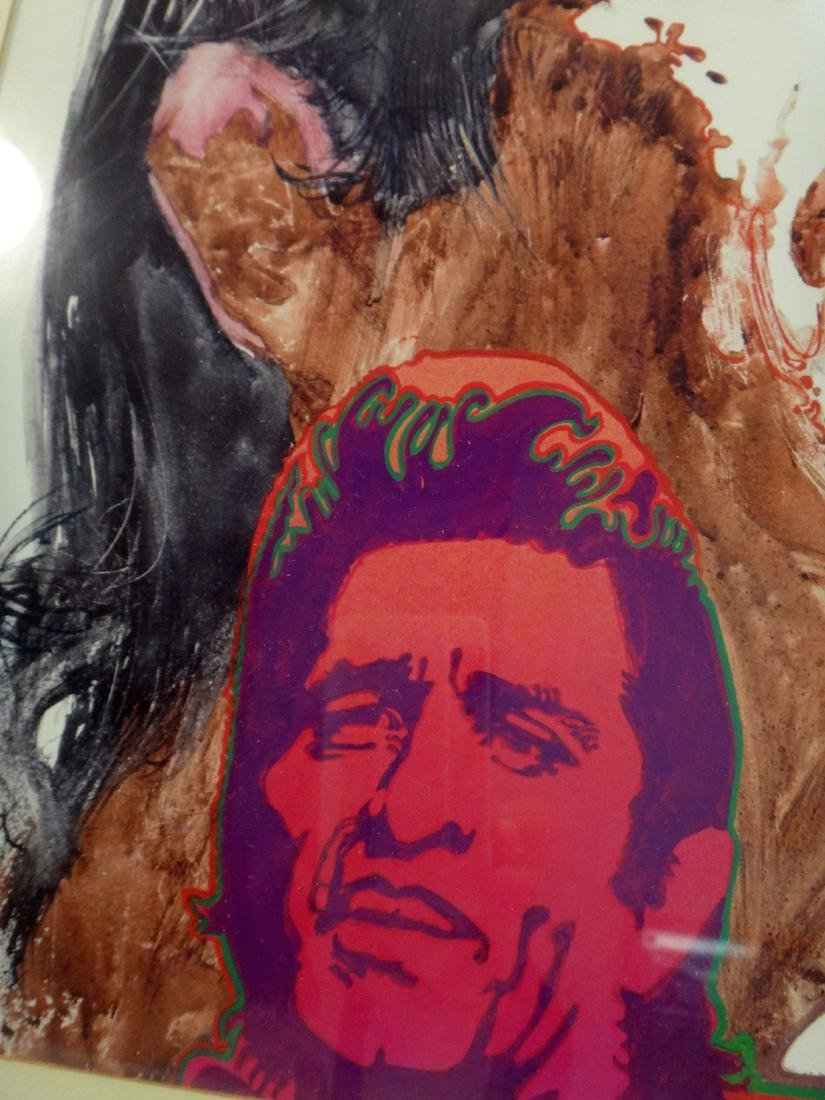 JOHNNY CASH LITHO SIGNED BY HIM AND ARTIST - 4