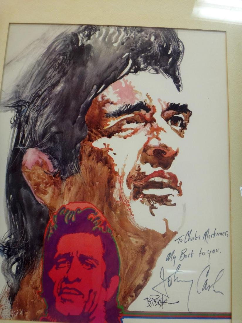 JOHNNY CASH LITHO SIGNED BY HIM AND ARTIST - 5