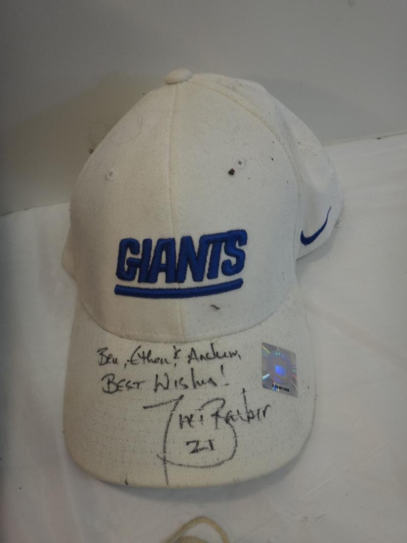 FOOTBALL STARS SIGNED HATS & TIKI BARBER/SIGNED BALL - 3