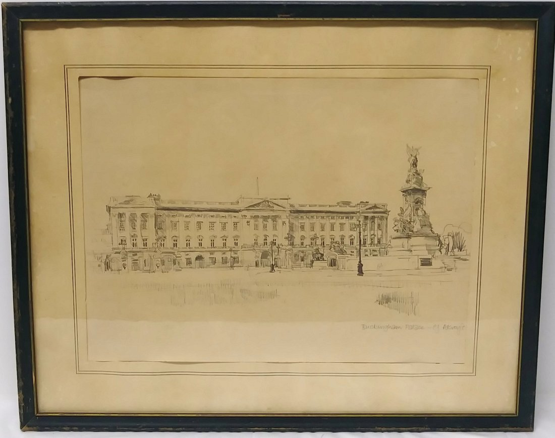 ** EXCEPTIONAL 20TH C. DRAWING OF  BUCKINGHAM PALACE