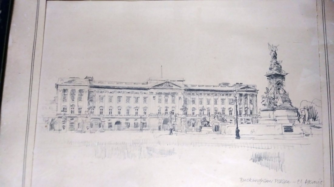 ** EXCEPTIONAL 20TH C. DRAWING OF  BUCKINGHAM PALACE - 2