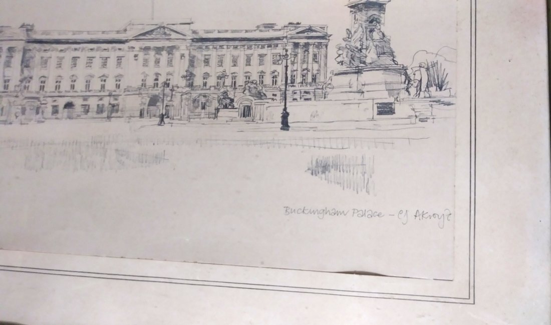 ** EXCEPTIONAL 20TH C. DRAWING OF  BUCKINGHAM PALACE - 4