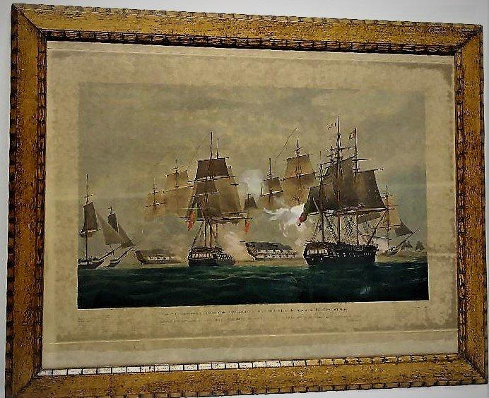 **1833 ENGRAVED NAVAL BATTLE. W.J. HUGGINS HANDCOLORED,