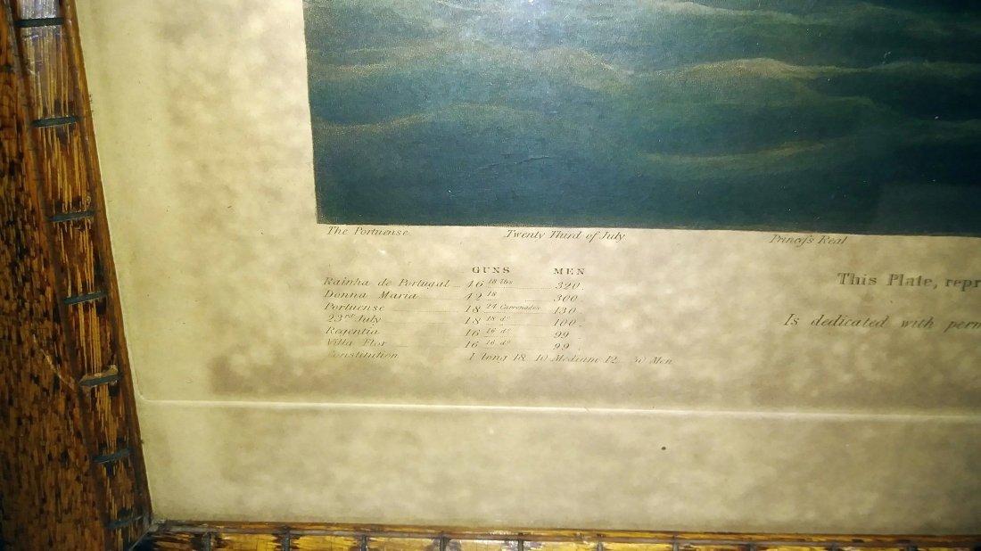 **1833 ENGRAVED NAVAL BATTLE. W.J. HUGGINS HANDCOLORED, - 2