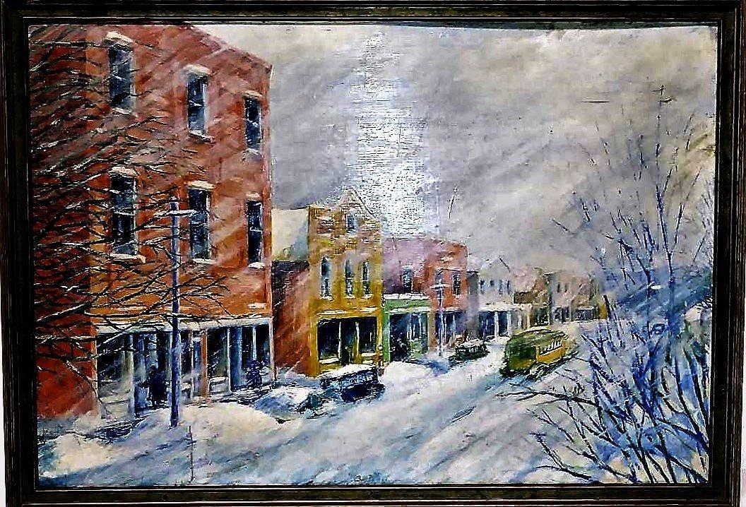 **N.Y. 1930s WIINTER TOWN SCENE, REGIONALIST ARTIST