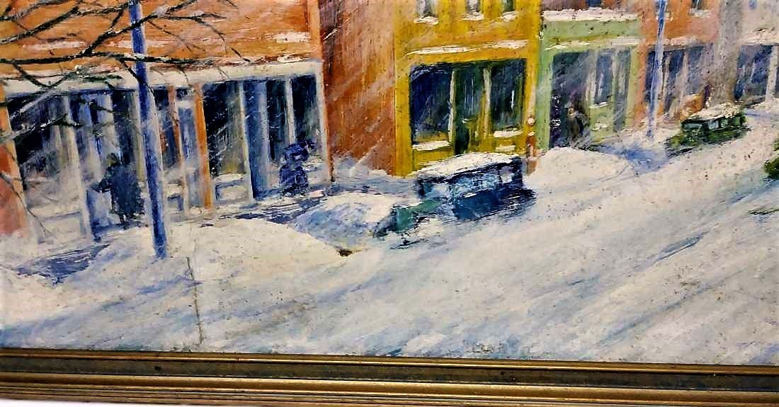 **N.Y. 1930s WIINTER TOWN SCENE, REGIONALIST ARTIST - 2