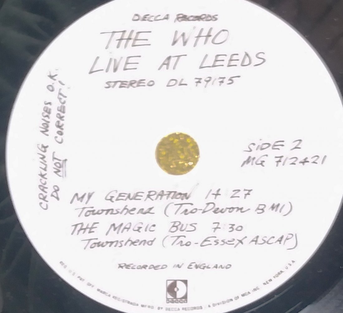 THE WHO LIVE AT LEEDS. SIGNED ALBUM. - 2