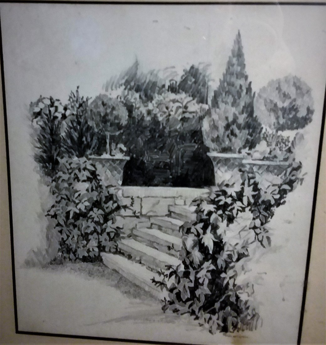 """""""STONE STEPS IN A FORMAL GARDEN"""" IMPRESSIONIST DRAWING."""