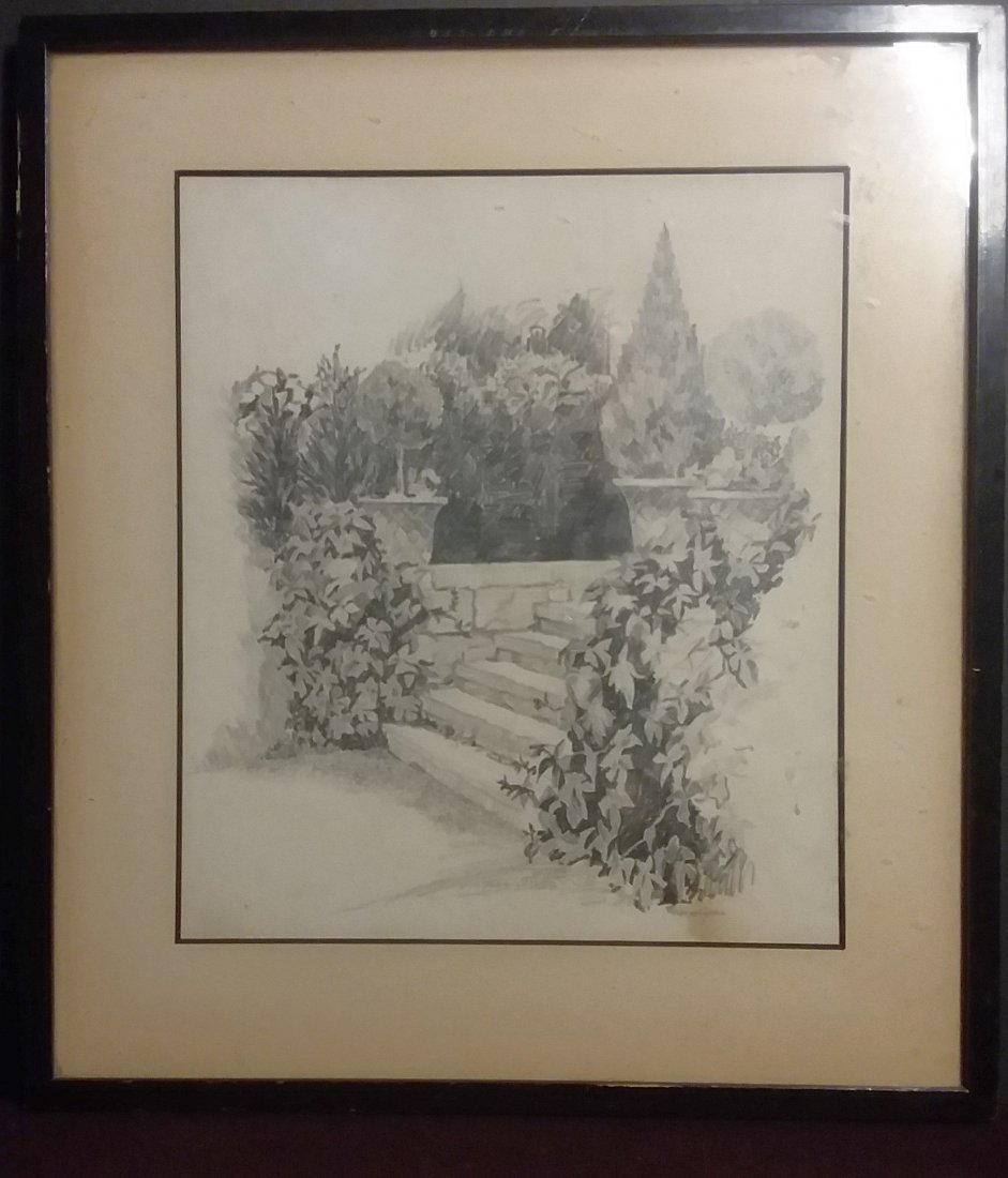 """""""STONE STEPS IN A FORMAL GARDEN"""" IMPRESSIONIST DRAWING. - 2"""
