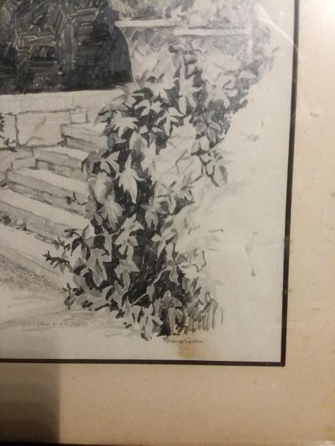 """""""STONE STEPS IN A FORMAL GARDEN"""" IMPRESSIONIST DRAWING. - 3"""