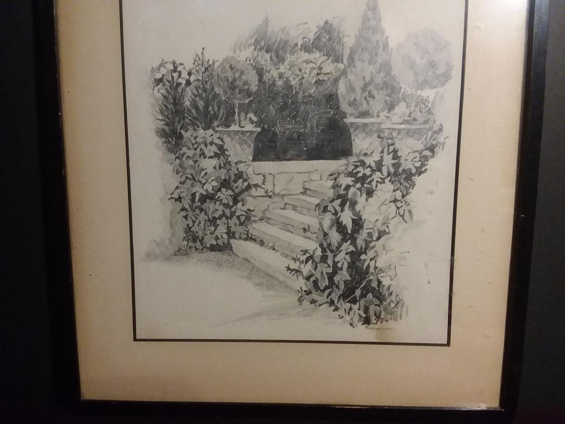 """""""STONE STEPS IN A FORMAL GARDEN"""" IMPRESSIONIST DRAWING. - 4"""
