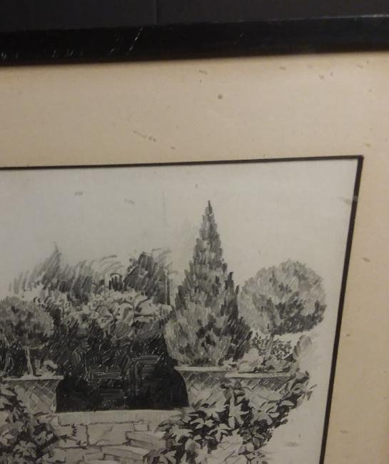 """""""STONE STEPS IN A FORMAL GARDEN"""" IMPRESSIONIST DRAWING. - 5"""