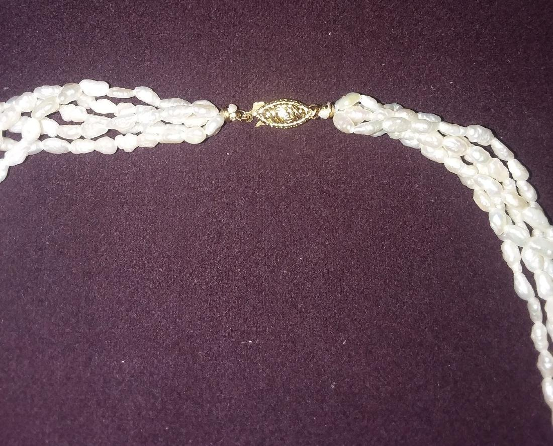 A ROPE STYLE FIVE STRAND PEARL NECKLACE - 4