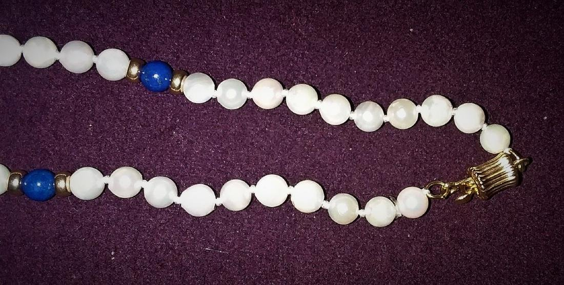 A GEM LAPIS AND PEARL, WITH ALL 14 KT. GOLD NECKLACE - 2