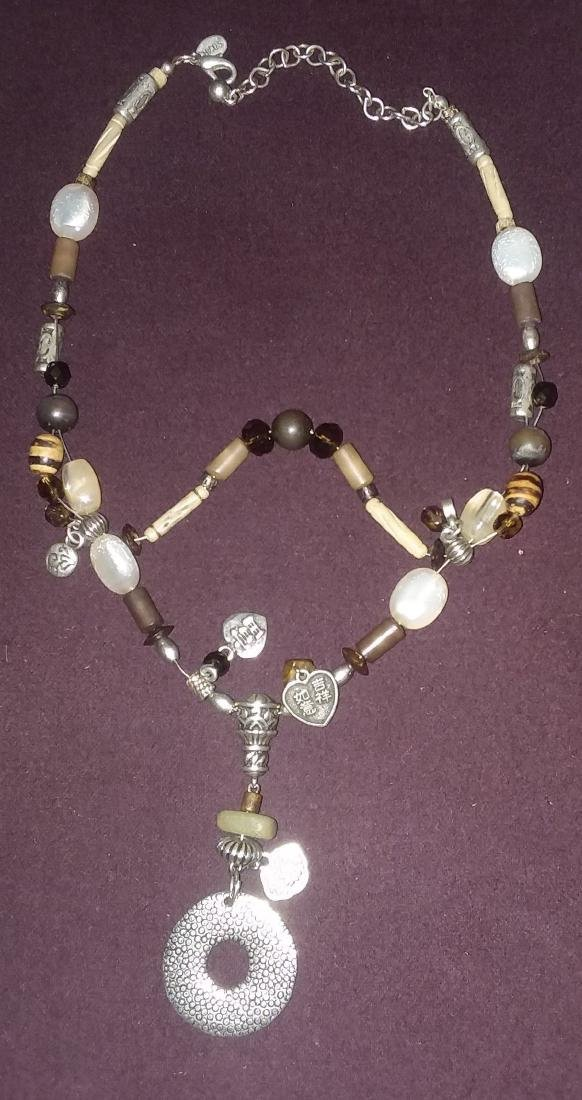 CRAFTED NECKLACE OF ANTIQUE ELEMENTS SILVER, STONE, ETC