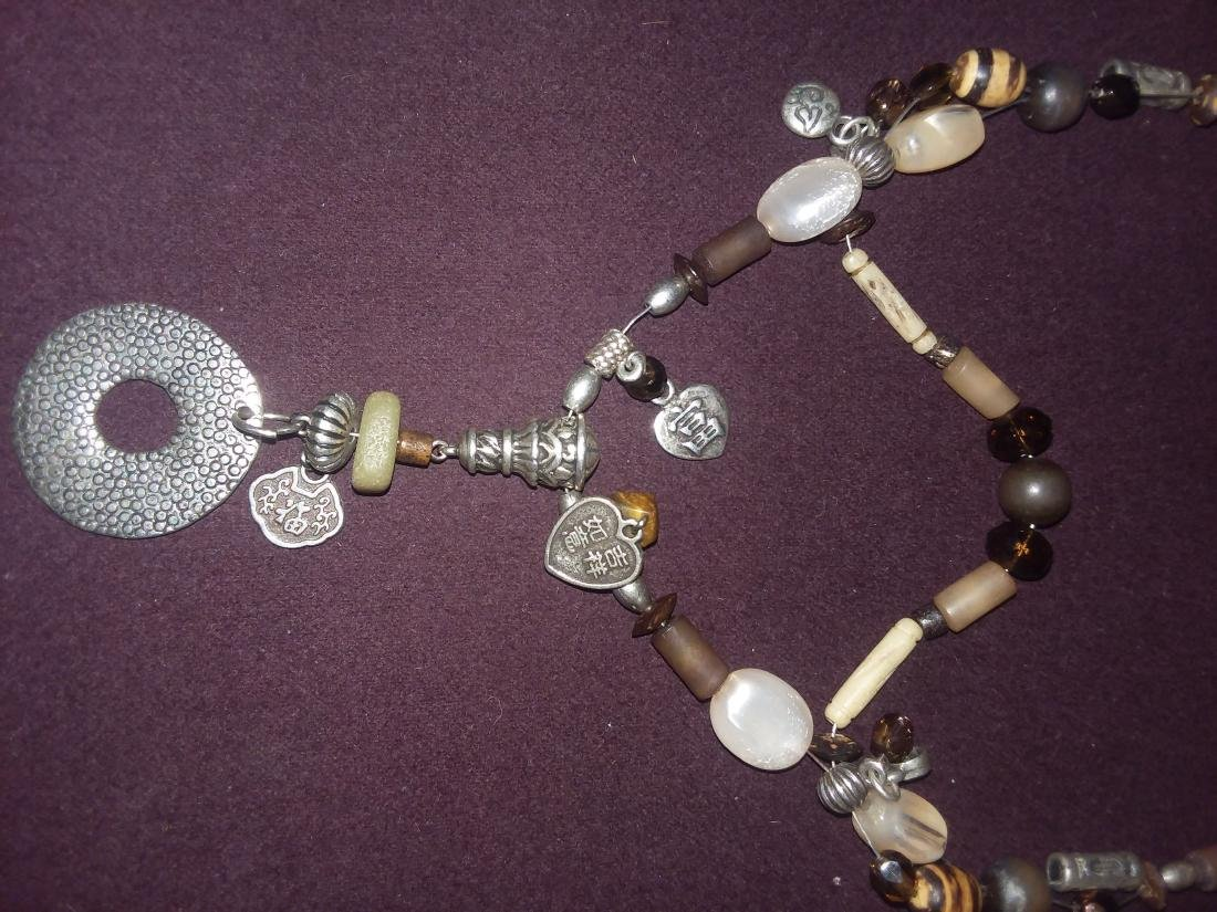 CRAFTED NECKLACE OF ANTIQUE ELEMENTS SILVER, STONE, ETC - 2