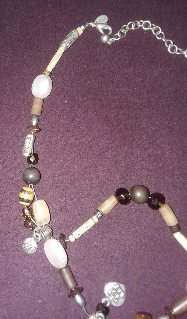 CRAFTED NECKLACE OF ANTIQUE ELEMENTS SILVER, STONE, ETC - 4