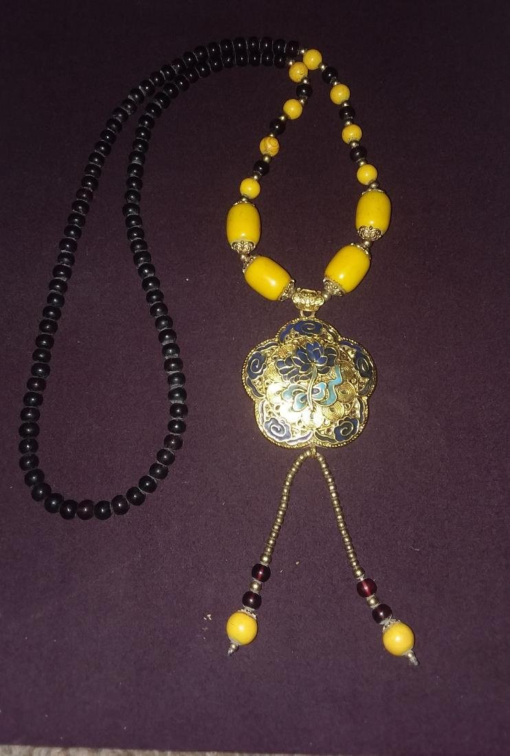 CHINESE BETROTHAL NECKLACE W/FITTINGS & COATED PENDANT - 3
